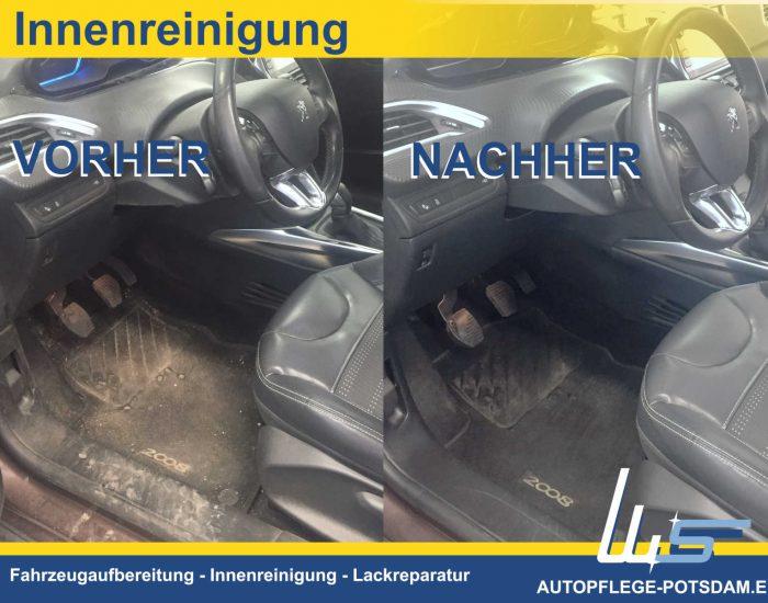 Autopflege-Potsdam Innenreinigung im Fahrzeug VORHER und NACHER